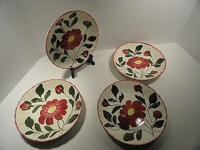 Blue Ridge Southern Potteries Bowls Red Flower Set of Four