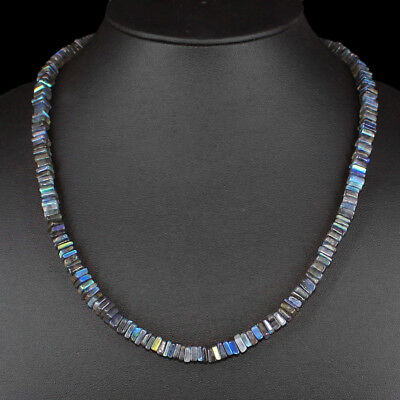 Genuine 180.00 Cts Natural Untreated Blue Color Flash Labradorite Beads Necklace