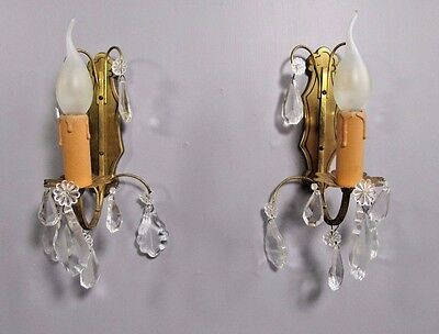 Antique French Sconce: Pair Gilt Brass Art Deco Crystal Wall Light Lamp
