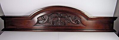 Antique Wooden Pediment: French Hand Carved Overdoor Architectural Salvaged