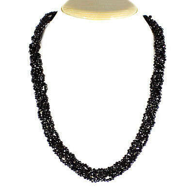 295.00 Cts Natural Rich Black Spinel Untreated Round Beads Necklace