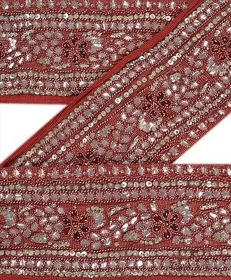 Vintage Sari Border Antique Hand Beaded 1 YD Indian Trim Sewing Red Decor Lace