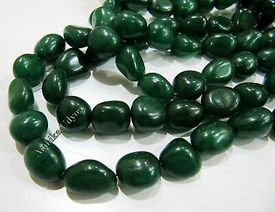 AAA Quality Dyed Emerald Smooth Plain Oval Nugget Beads 10to15mm Strand 15 inch.
