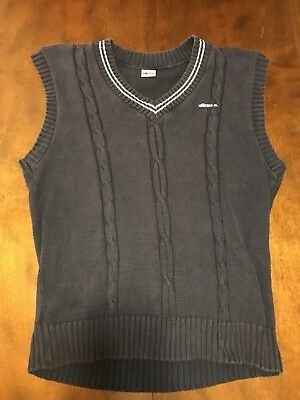 Ellesse Vest Mens XL Blue Cable Knit V Neck Pre Own Made In U.S.A.