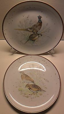 "Andrea Sadek Game Bird Plates (2) Pheasant Quail Speckled Brown Edge 7 3/4"" Pair"