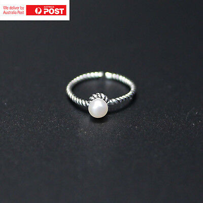 925 Sterling Silver Fresh Water Pearl Open Cuff Adjustable Ring Size 4-9