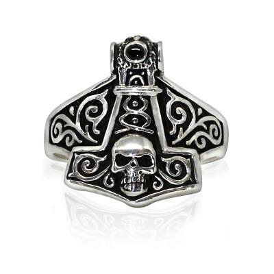 925 Sterling Silver Thor Hammer Mjolnir Viking Norse Skull Gothic Solid Ring