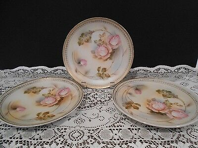 """Vintage Set 3 Porcelain 8 1/2"""" Plates Germany early to mid 1900's Roses Gold WOW"""
