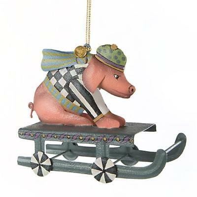 Authentic Mackenzie Childs    Sledding Pig Ornament  NEW