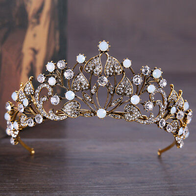 Antique Gold Leaf Opal Crystal Adult Tiara Crown Wedding Prom Party Pageant 6cm