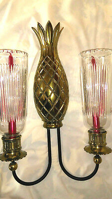Large Double Brass Pineapple Wall Sconce Vintage, Beautiful Cut Crystal Shades