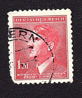 Bohemia and Moravia, Germany, 1944 1.20 Stamp, Adolph Hitler - Used
