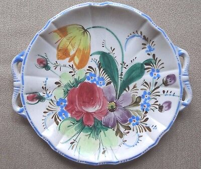 Vintage Hand Painted Floral Bouquet Handled Serving or Display Plate Italy