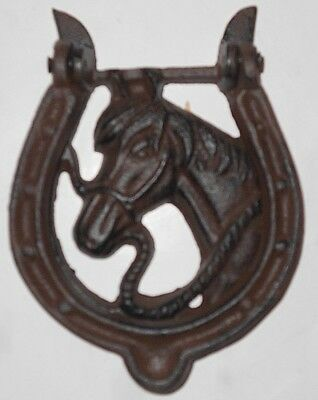 HORSE HEAD HORSESHOE Cast Iron Antique Style Rustic DOOR KNOCKER Western Cowboy