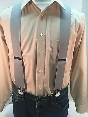 "New, Men's, Light Gray, XL, 2"", Twin Pin Clip, Suspenders, Made in the USA"