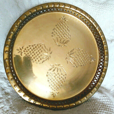 VTG Antique Large Round SHINY Brass Serving Tray Pineapple Platter Filigree rail