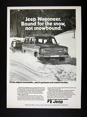 1973 AMC Jeep Wagoneer snowy road hauling snowmobiles photo vintage print Ad