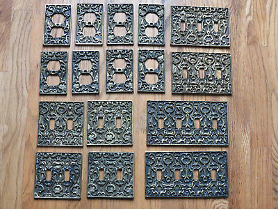 Lot of 16 Antique Vintage Ornate Solid Brass Outlet Plug Plate Switch Cover
