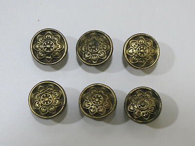 Lot Of 6 Antique Vintage Solid Brass Drawer Knobs