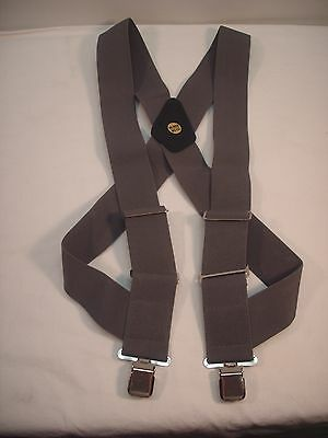 "New, Men's, Gray, Side Clip Suspenders / Braces, XL, 2"", Adj.  Made in USA"