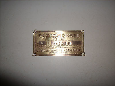 Vintage 40's Solid Brass Nameplate Tag Industrial Embossed Sign American Blower