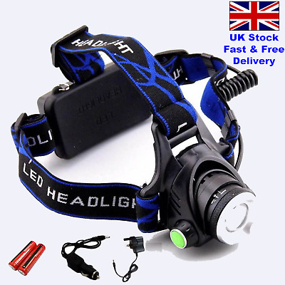 Super Bright Waterproof 5000 Lumens  Head Torch/Headlight Mains/Car Rechargeable