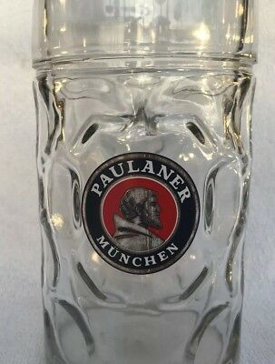 Large Paulaner Munchen German Beer Clear Glass Stein Dimpled 1L Mug Oktoberfest