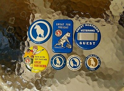 7 Pins Great Northern Railroad GNRY Safety Pin Button Badge Lot Vet. Goat Rect.