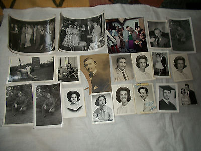 Lot Of 20 Vintage 1940's-1960's B&w Cabinet & Snapshot Photos