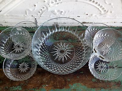 Vintage Arcoroc France Diamant 7 Piece Salad Bowl Set Clear Glass