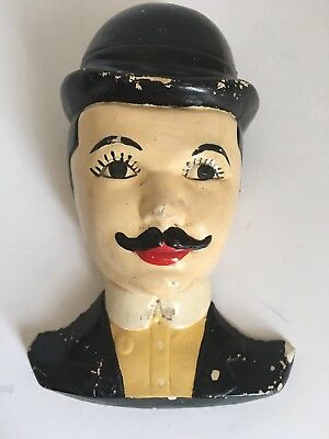 Vintage Chalk Ware Man Head with Derby Hat and Mustache