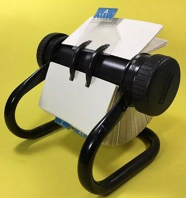 Rolodex Rotary Large Open Card File w/Cards & Alpha Dividers Black Metal Frame