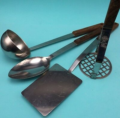 4 Vtg MC Marcrest Quality Utensils Spatula Masher Spoon Ladle Stainless Wood USA