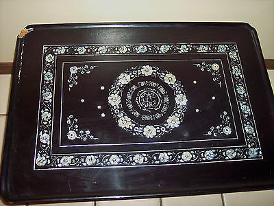 Korean WOOD Coffee Table Mother Pearl Asian Carved Inlaid Oriental Lacquer Black