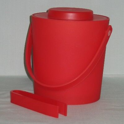 Red Plastic Ice Insulated Bucket & Tongs