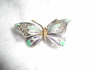 Vintage Italian Gold Washed 800 Silver Filigree & Enamel Small Butterfly Pin