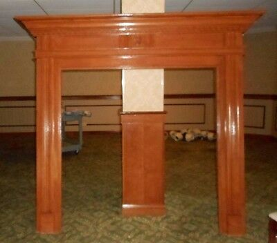 Gorgeous Custom Wall Mt 7' TALL RED OAK Wooden Cove Molding Fireplace Mantle