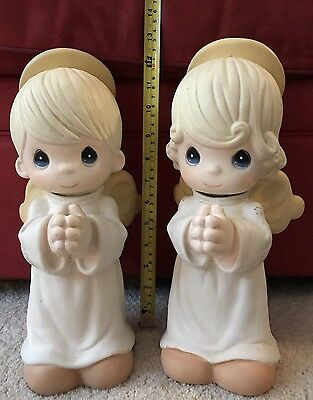Large Garden Precious Moments 14 Inch Angel  Boy/ Girl Statues Sam B 2700 & 2701