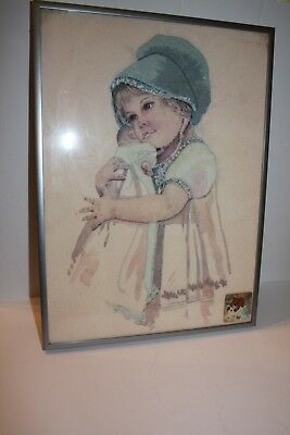 VTG Mid Century Hand Embroidered Little Girl with Doll Framed Picture