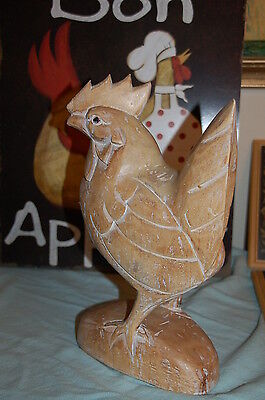 "LARGE Vintage WOOD Chicken Rooster French Country Sculpture 13.5"" Tall 8.5"" wide"
