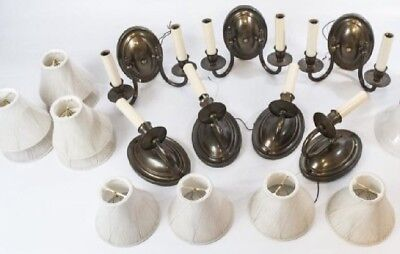 Set Of Vintage Antique Style Bronze Finish Wall Sconces & Shades