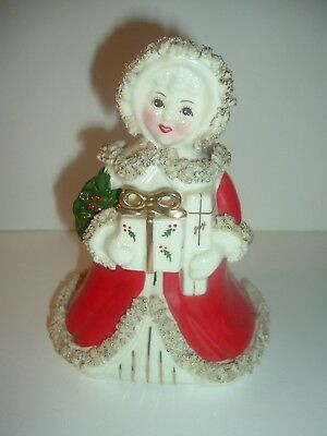 Vintage Napco Christmas Lady with Package Planter