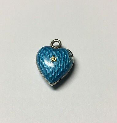 Antique~Vintage English Silver 800,Blue Enamel Puffy Heart