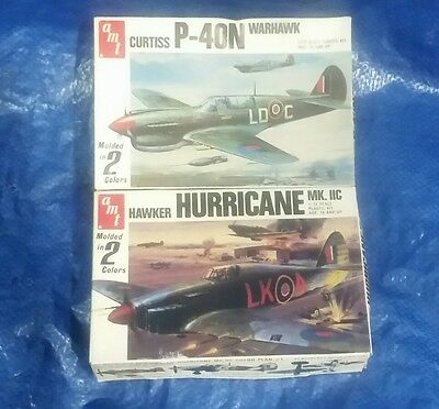 LOT OF 2 1/72 scale AMT Brand Hawker Hurricane & Curtiss P-40N New In Box!