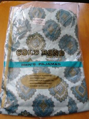 Vintage Men's Pajamas Set  Gold Bond Brand Size blue and Gold New in Pk