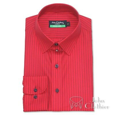 Mens Cotton shirt Tab collar Red with Blue stripes Loop collar Cufflinks Gents