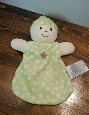 Babies R Us Baby Blanket Lovey Security Doll Green White Dots Stars Plush