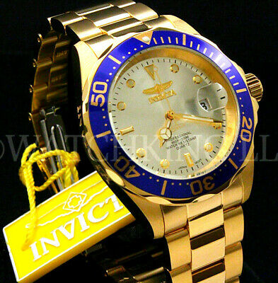 NEW Invicta Men 40mm Pro Diver Gold Dial 18K Gold Plated S.S Bracelet Watch