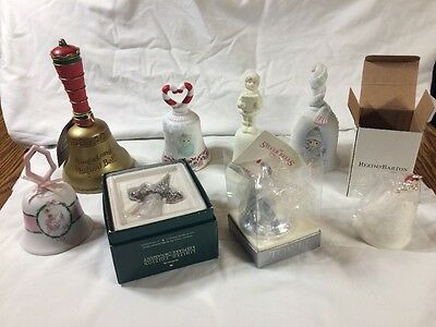 Lot of 8 Vintage  Hand Bells Porcelain CHRISTMAS Holiday Precious Moments Towle
