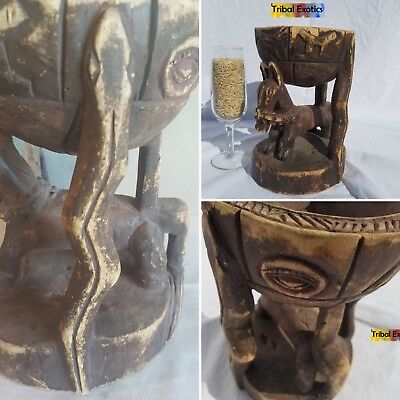 PREMIUM tribal African Art - Dogon Chalice Cup Figure Sculpture Statue Mask